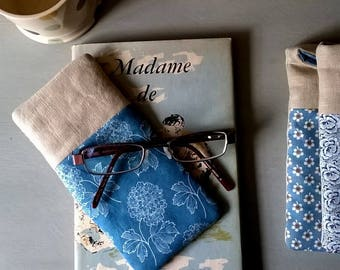 Linen Glass Case with Blue and White Floral Fabric  / Specs Case /Glasses Case / Sunglasses Case