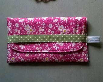 Pink Floral Glasses Case with Grey and Pink Patterned Lining / Specs case / Pouch / Purse / Bag