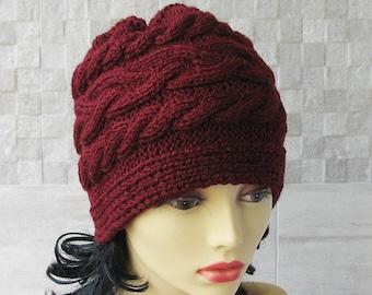 Parisian style, Winter Hat Kniited Beanie Hat, Knit Hat for Women Knit Hats Women, Burgundy