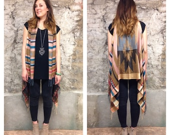 Pashmina Vest: Light Pink and Tan Southwest Navajo Tribal Aztec Pashmina Fringe Vest Shawl