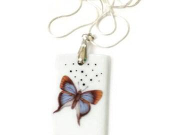porcelain blue butterfly pendant