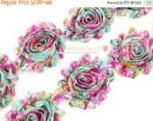 "ON SALE 30% OFF 2.5"" Printed Shabby Rose Trim - Blue Rose Vintage - Chiffon Trim - Printed Shabby Trim -Diy Hair Acessories Supplies"