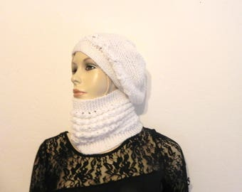 """COLLAR SNOOD and white """"acrylic"""" hand knit hat women winter fashion accessories"""