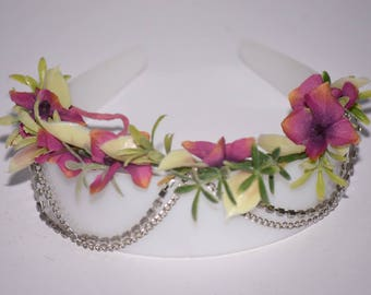 Anklet Pink & Green Flowers