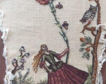 Outlander Geillis Corset Stomacher Silk Hand Embroidery Needlework Jacobite Goth Gypsy RenaissanceColonial  Wedding Alchemy Theater