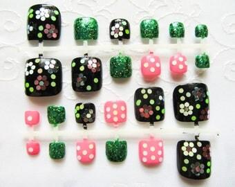 Glitter Fake Toenails, Toenails, Toe Nails, Fake Nails, Acrylic, Press on, Pedicure, Flowers, Glitter