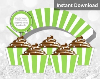 Lime Green, White Stripe Cupcake Wrapper Instant Download, Party Decorations