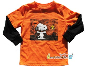 Vampire Snoopy and Woodstock Long Sleeve Orange and Black Halloween Toddler Top, It's the Great Pumpkin, Charlie Brown, Charles M. Schulz
