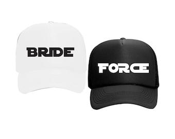 Bride and Force Hats Star Wars Bachlorette White or Black Foam Trucker Mesh Back Hat Snapback