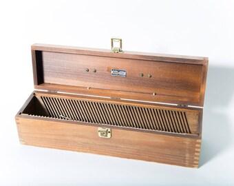 Mid Century Nega File Wood Storage Box 1950s Photography Negatives Slide Case Leather Handle Original Key