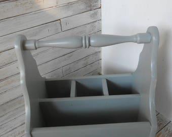 Gray Silverware Wood Caddy - Wooden Caddy - Organizer- Caddy- Painted Silverware Caddy - Silverware Holder-Farmhouse Kitchen Organizer/Caddy