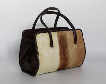 Authentic vintage 1950s handbag,shoulder bag, Kelly bag, Made in England, real cow hide