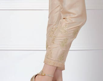 Silk pants, gold, fancy, formal pants, ready to ship