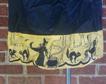 Antique 1920's 30's Vintage Halloween Skirt // Vtg Costume Slip Skirt // Witches Cauldron Black Cats