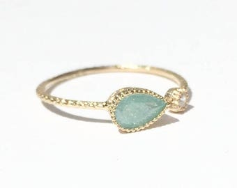 SALE - Mint ring - Mint Opal - Teardrop ring - Gold ring - Dainty ring
