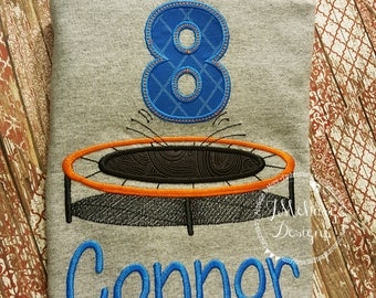 Trampoline Birthday Applique shirt - Customizable -  Children's Birthday Shirt 71A