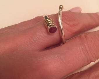 Size 8- Hammered Wrap Genuine Ruby Ring