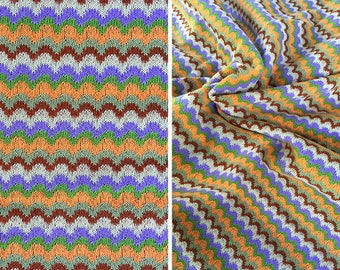 Destash fabric sale | Vintage psychedelic 70s striped stretchy knit fabric