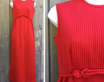 Vintage dress | 1960s flame red Leslie Fay sleeveless maxi gown with rope detail