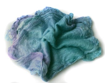 SILK HANKIES - Hand Dyed - Mawata squares - Mulberry silk - 10g - turquoise - lavender