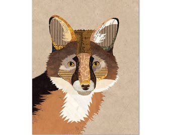 Fox Art Print - Collage Illustration - Framable Wall Art