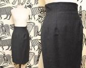 Gray High Waist Wool Skirt // Fitted Grey Pencil Skirt Secretary Anne Klein II Size 4 Small