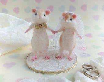 Hamster Wedding Cake Topper Needle Felted Model Alternative Marriage Decor Bride and Groom