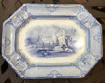 Vintage China,  Classical  Antique STAFFORDSHIRE Blue Transferware  Platter, CORRELLA,  C. 1850 - 60