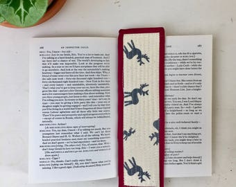 handmade quilted bookmark made with cotton linen and a cotton binding