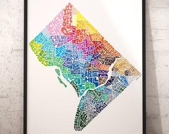 Washington DC art print, Washington DC map art, Washington DC typography map, map of washington dc, washington dc neighborhood map downtown