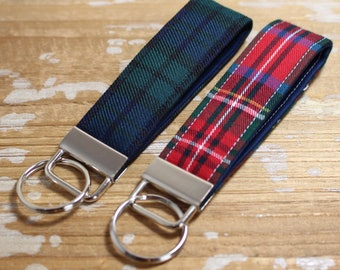 Plaid Key Fob Set of Two - Mini Length - Red, Blue, Green