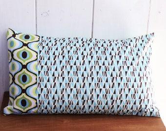 Cushion cover 50 x 30 cm fabrics patterns lime geometric blue/green/brown vintage decor