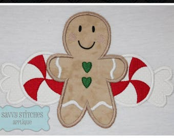 Gingerbread Peppermint Machine Embroidery Applique Design