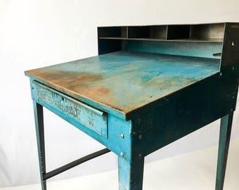 Tall Vintage Industrial Steel Shop Clerk Desk Metal Drafting Table Adjustable Height
