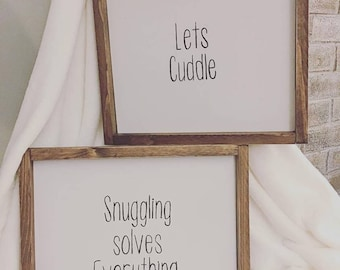 Lets Cuddle Rustic Wood Sign / Wall Art / Wall Decor