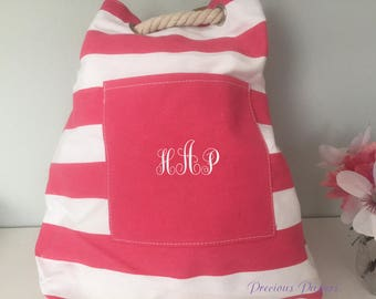 Personalized monogrammed canvas striped bag with rope handle, monogrammed beach bag,  monogram shoulder bag, striped backpack