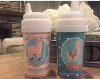 Personalized llama  sippy cups alpaca sippy cup llama kids cup alpaca kids cup llama toddler cup alpaca toddler cup