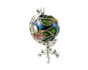 Sterling Silver Best Ever Large Cloisonne Globe Charm For Bracelets