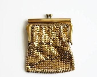 Vintage Gold Mesh Coin Purse, Rhinestone Kiss Lock, Midcentury Glamour, West Germany, Circa 1950's
