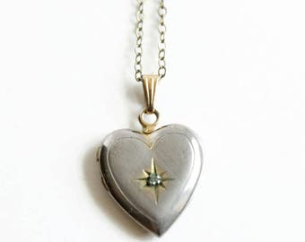 Vintage 12K Heart Locket Necklace with Diamond, Starburst Diamond, Love Token, Circa 1950's