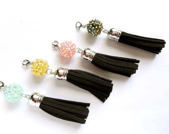 4 Assorted Black Tassel Charm/Pendants With AB Resin Beads - 22-35-19