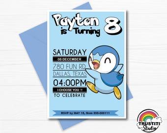Pokemon PIPLUP Invitation, Pokemon Birthday Invitation, Pokemon Birthday Party, Invitations Printable, pikachu, pink