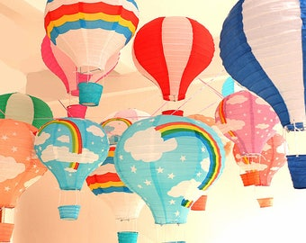 "1pcs 12''30cm/16""40cm 22 colors Rainbow Hot Air Balloon Paper Lantern Kids Birthday Party Wedding Decoration"