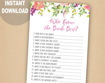 Who Knows The Bride Best How Well Do You Know Game Bridal