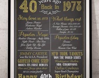 40th Birthday Sign, 40th Birthday For Him 40th Birthday For Her, 1978 Birthday Sign, Back in 1978, Happy 40th Birthday, 40th Birthday Poster