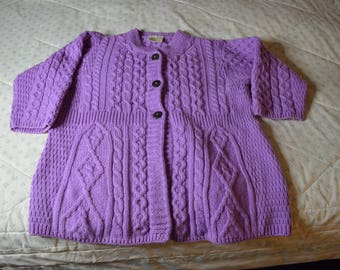 Irish Purple Cardigan Sweater by Kilronan Knitwear in Size Medium