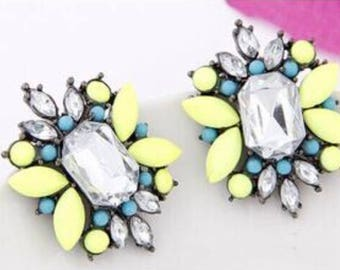 Fluorescent Gem Earrings