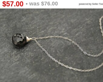 CIJ SALE** smoke... silver smoky topaz necklace / smoky topaz quartz & sterling silver necklace