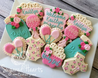 Shabby Chic Vintage Lace Floral Baby Shower Cookies   1 Dozen