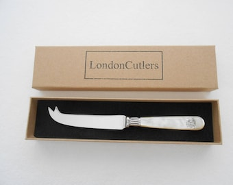 Cheese Knife with Antique Mother of Pearl Handle New Stainless Steel Retro Style Handle with Monogram by London Cutlers